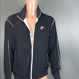 Nike Mens Black/White Athletic Zip Up Jackets SZ.L